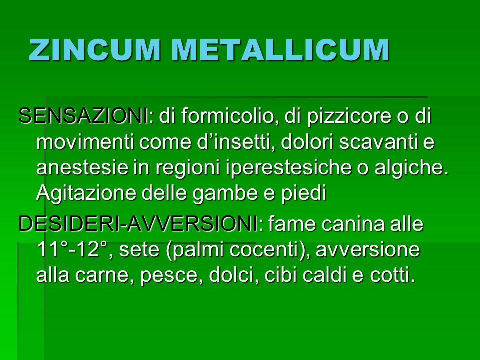 ZINCUM METALLICUM SENSAZIONI: di formicolio, di pizzicore o di movimenti come dinsetti, dolori scavanti e anestesie in regioni iperestesiche o algiche