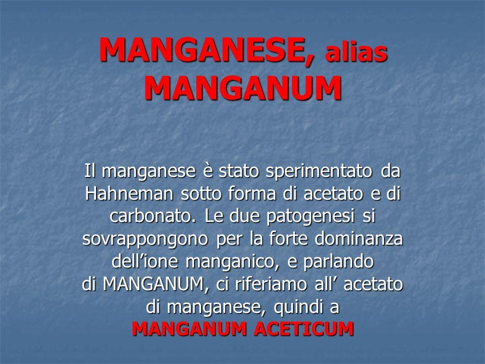 MANGANESE, alias MANGANUM Il manganese è stato sperimentato da Hahneman sotto forma di acetato e di carbonato. Le due patogenesi si sovrappongono per
