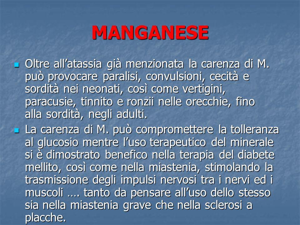 MANGANESE Oltre allatassia già menzionata la carenza di M. può provocare paralisi, convulsioni, cecità e sordità nei neonati, così come vertigini, par