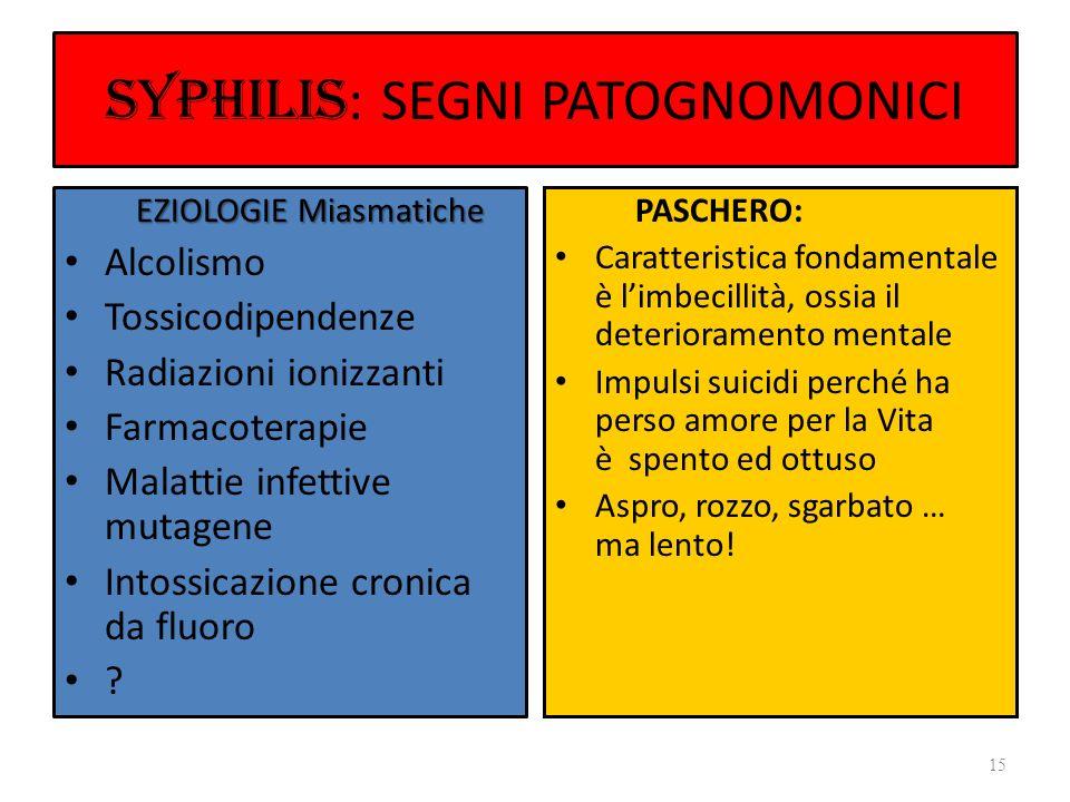 SYPHILIS : SEGNI PATOGNOMONICI EZIOLOGIE Miasmatiche EZIOLOGIE Miasmatiche Alcolismo Tossicodipendenze Radiazioni ionizzanti Farmacoterapie Malattie i