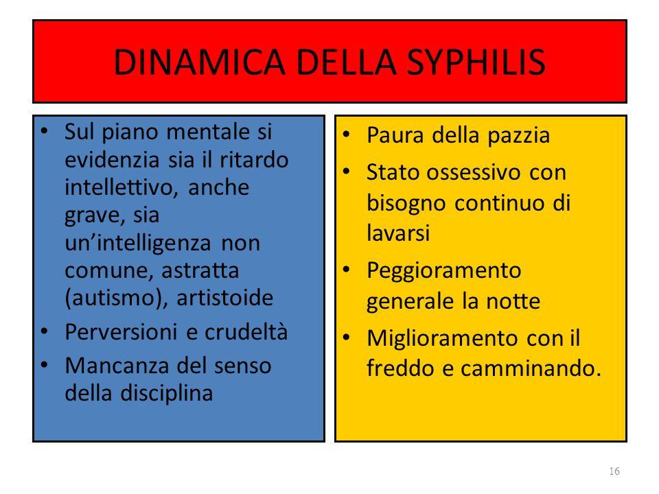 DINAMICA DELLA SYPHILIS Sul piano mentale si evidenzia sia il ritardo intellettivo, anche grave, sia unintelligenza non comune, astratta (autismo), ar