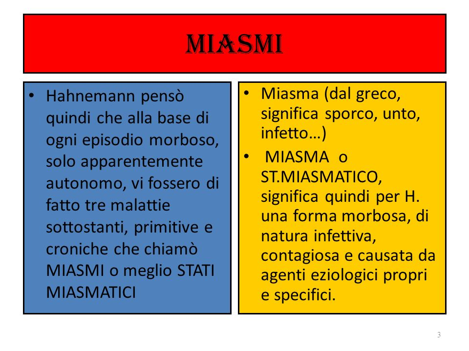 MIASMI Il contagio con gli agenti infettivi (Miasma ) innesca lo sviluppo della malattia primaria Dalla guarigione della m.