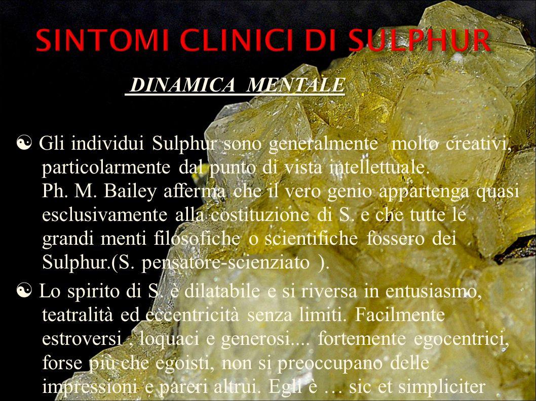 DINAMICA MENTALE DINAMICA MENTALE Gli individui Sulphur sono generalmente molto creativi, particolarmente dal punto di vista intellettuale. Ph. M. Bai