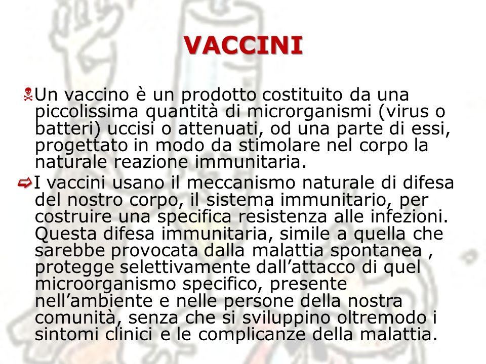 VACCINI Un vaccino è un prodotto costituito da una piccolissima quantità di microrganismi (virus o batteri) uccisi o attenuati, od una parte di essi,