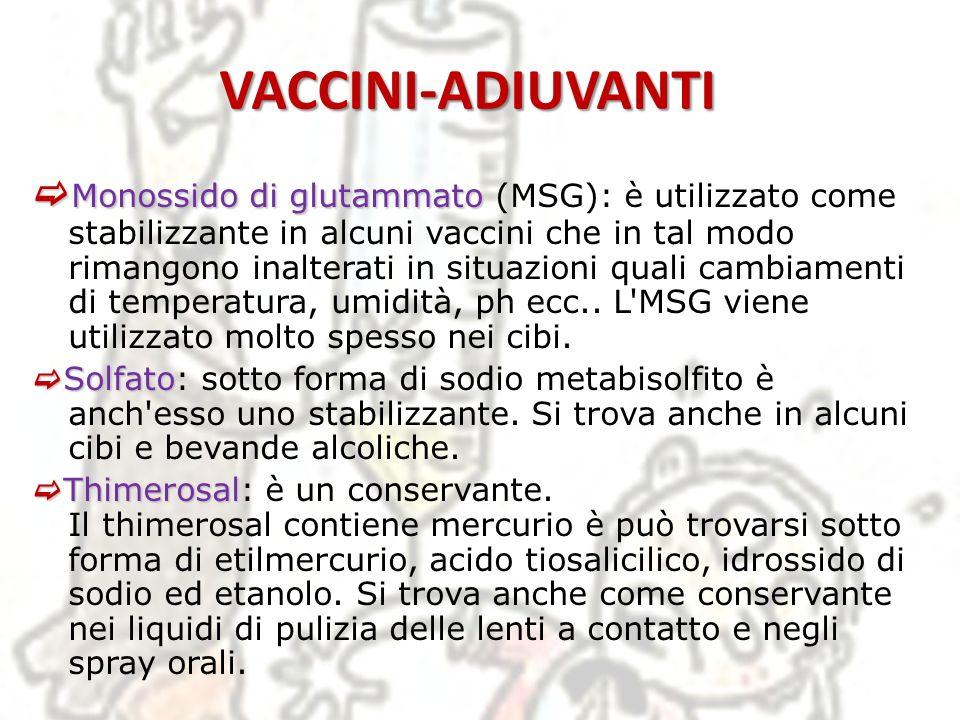 VACCINI-ADIUVANTI Monossido di glutammato Monossido di glutammato (MSG): è utilizzato come stabilizzante in alcuni vaccini che in tal modo rimangono i