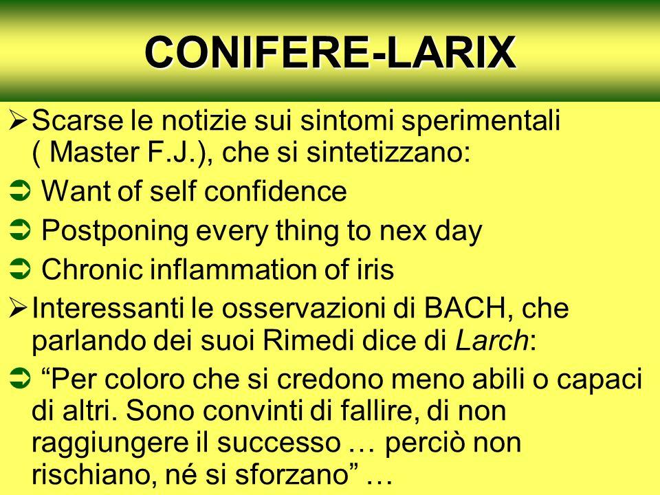 CONIFERE-LARIX Scarse le notizie sui sintomi sperimentali ( Master F.J.), che si sintetizzano: Want of self confidence Postponing every thing to nex d