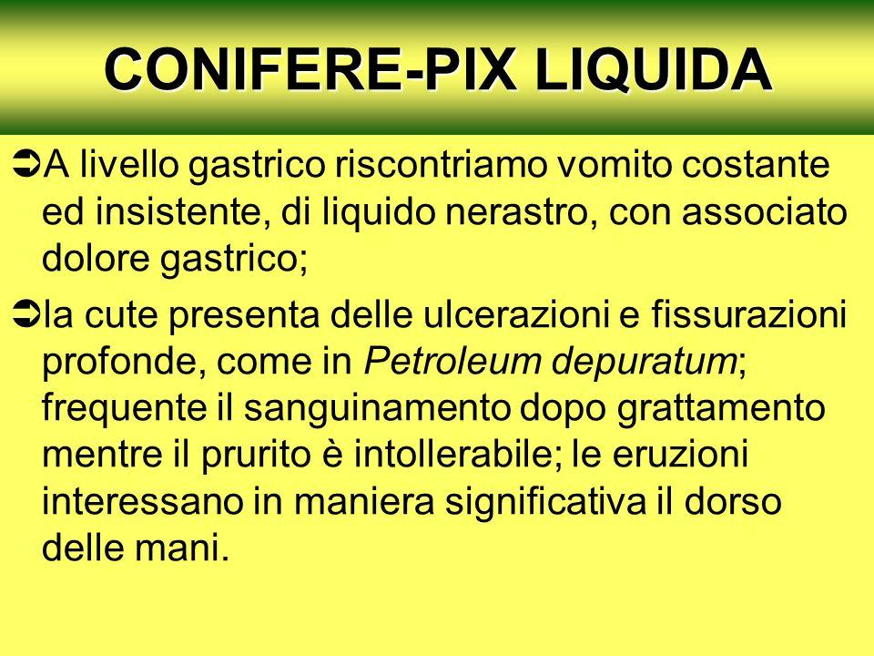 CONIFERE-PIX LIQUIDA A livello gastrico riscontriamo vomito costante ed insistente, di liquido nerastro, con associato dolore gastrico; la cute presen
