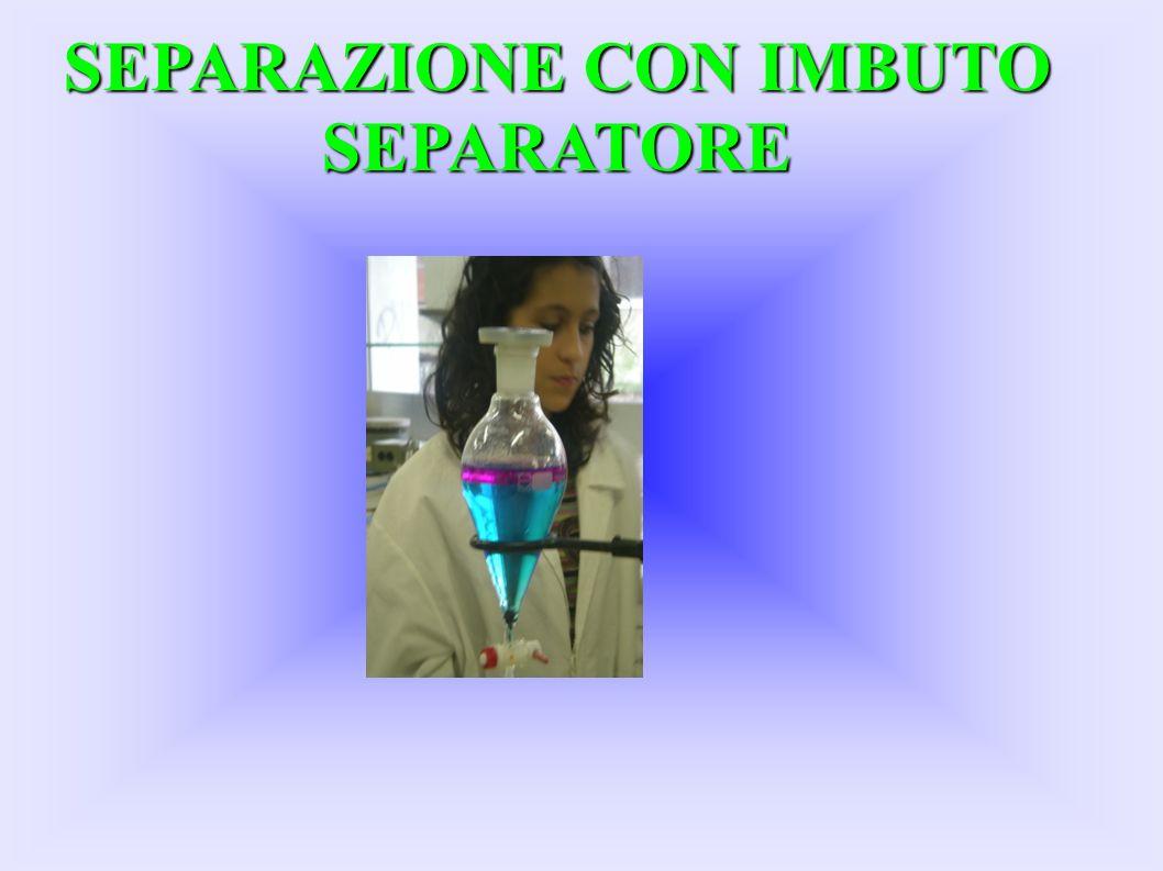 Separazione con imbuto separatore Questo esperimento serve a separare miscugli non omogenei e necessita di un imbuto separatore Nel nostro caso abbiamo separato Iodio e Solfato di Rame