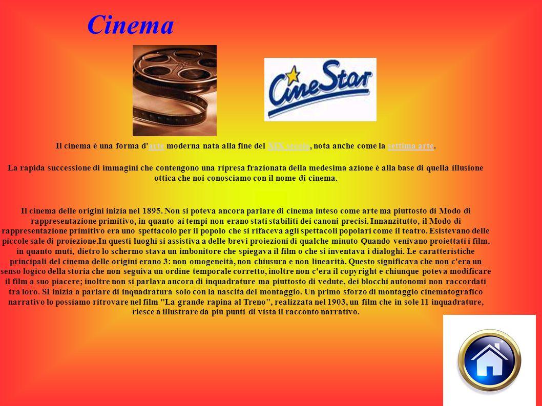 Cinema Il cinema è una forma d arte moderna nata alla fine del XIX secolo, nota anche come la settima arte.arteXIX secolosettima arte La rapida successione di immagini che contengono una ripresa frazionata della medesima azione è alla base di quella illusione ottica che noi conosciamo con il nome di cinema.
