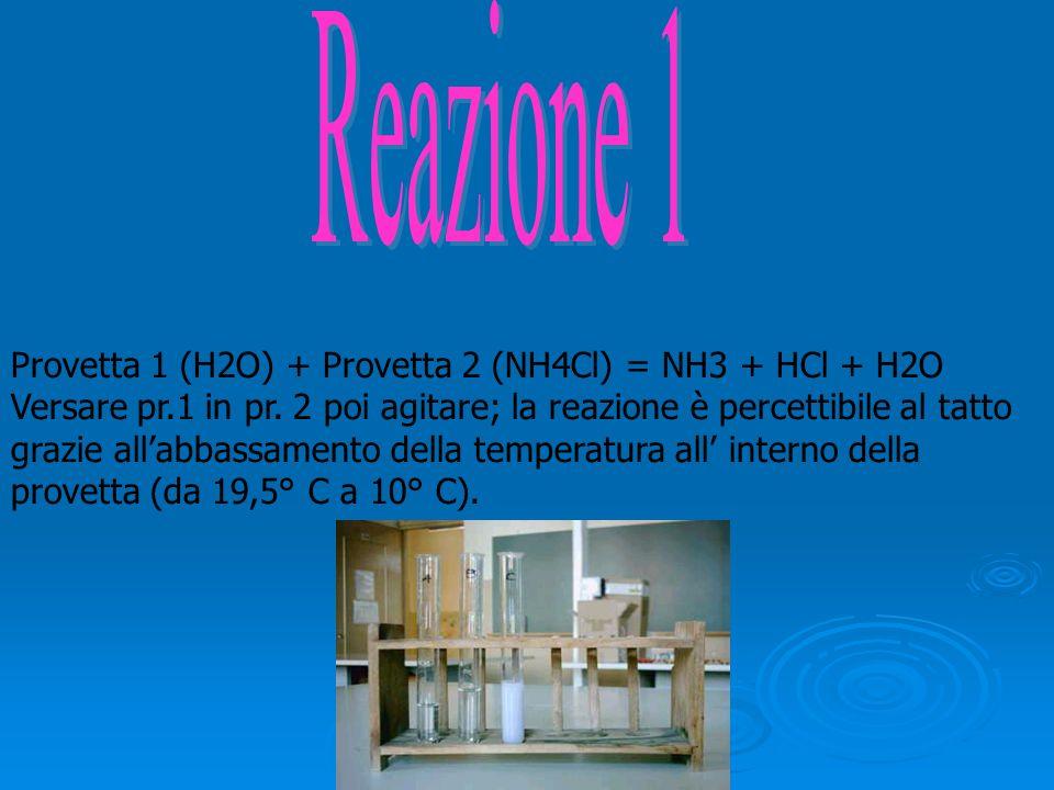 Provetta 1 (H2O) + Provetta 2 (NH4Cl) = NH3 + HCl + H2O Versare pr.1 in pr. 2 poi agitare; la reazione è percettibile al tatto grazie allabbassamento