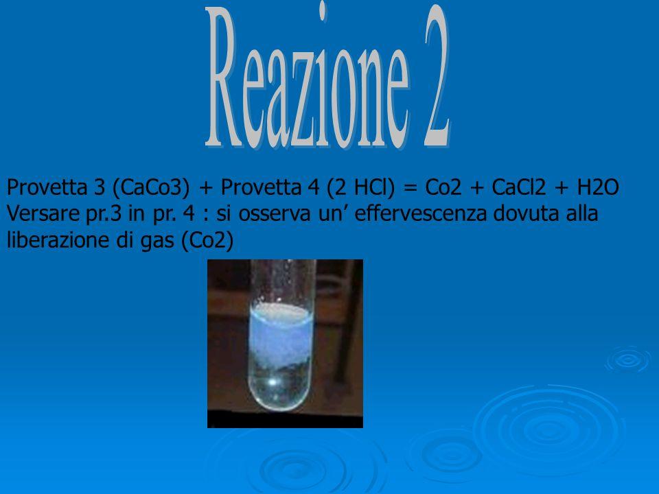 Provetta 3 (CaCo3) + Provetta 4 (2 HCl) = Co2 + CaCl2 + H2O Versare pr.3 in pr. 4 : si osserva un effervescenza dovuta alla liberazione di gas (Co2)
