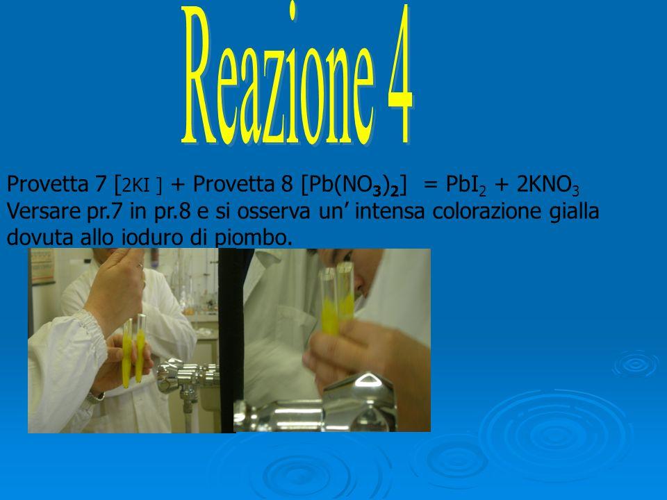 Provetta 7 [ 2KI ] + Provetta 8 [Pb(NO 3 ) 2 ] = PbI 2 + 2KNO 3 Versare pr.7 in pr.8 e si osserva un intensa colorazione gialla dovuta allo ioduro di