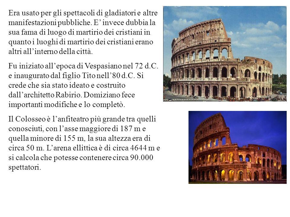 Era usato per gli spettacoli di gladiatori e altre manifestazioni pubbliche. E invece dubbia la sua fama di luogo di martirio dei cristiani in quanto