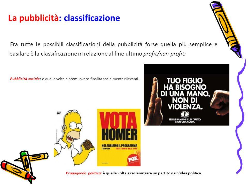 La pubblicità: classificazione Fra tutte le possibili classificazioni della pubblicità forse quella più semplice e basilare è la classificazione in re