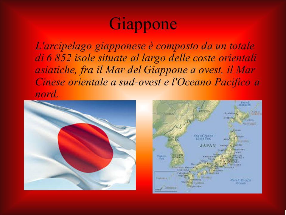 Giappone L arcipelago giapponese è composto da un totale di 6 852 isole situate al largo delle coste orientali asiatiche, fra il Mar del Giappone a ovest, il Mar Cinese orientale a sud-ovest e l Oceano Pacifico a nord.