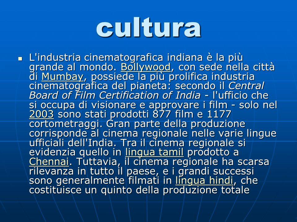 cultura L industria cinematografica indiana è la più grande al mondo.