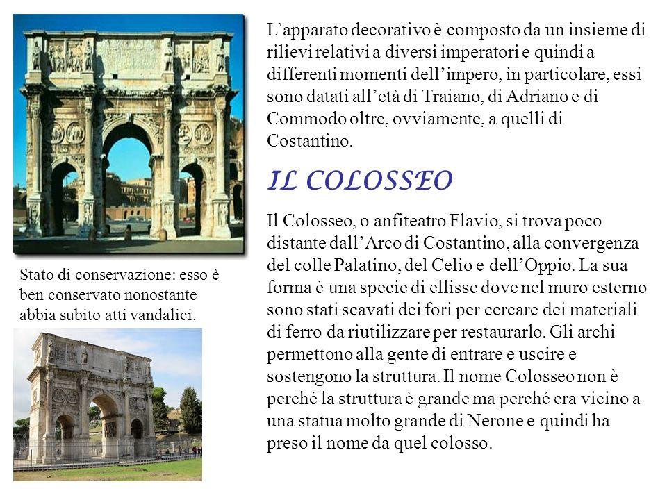 Lapparato decorativo è composto da un insieme di rilievi relativi a diversi imperatori e quindi a differenti momenti dellimpero, in particolare, essi sono datati alletà di Traiano, di Adriano e di Commodo oltre, ovviamente, a quelli di Costantino.