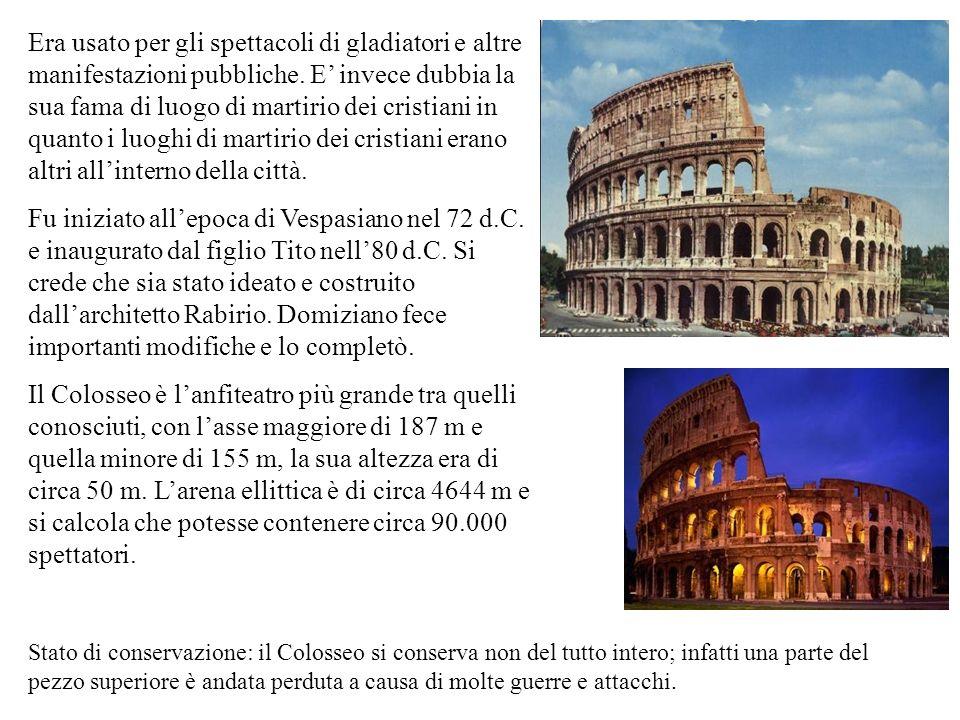 Era usato per gli spettacoli di gladiatori e altre manifestazioni pubbliche.
