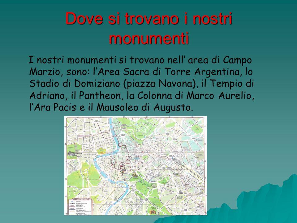 Dove si trovano i nostri monumenti I nostri monumenti si trovano nell area di Campo Marzio, sono: lArea Sacra di Torre Argentina, lo Stadio di Domizia