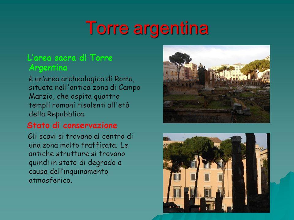 Torre argentina Larea sacra di Torre Argentina è unarea archeologica di Roma, situata nell'antica zona di Campo Marzio, che ospita quattro templi roma