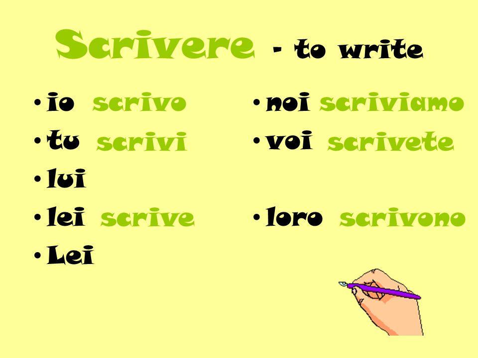 Scrivere - to write io tu lui lei Lei noi voi loro scrivo scrivi scrivescrivono scrivete scriviamo