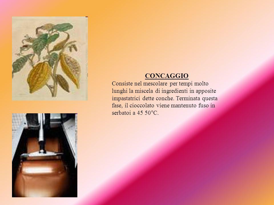 TEMPERAGGIO Dato che il burro di cacao tende a cristallizzare in modo irregolare, la massa di cioccolato fuso deve venire raffreddata cautamente, in modo da portare alla cristallizzazione desiderata.