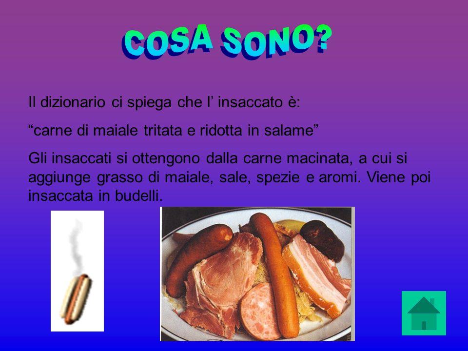 Il dizionario ci spiega che l insaccato è: carne di maiale tritata e ridotta in salame Gli insaccati si ottengono dalla carne macinata, a cui si aggiu
