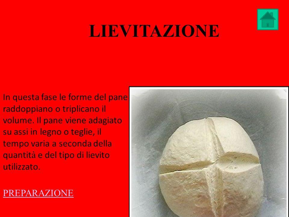 LIEVITAZIONE In questa fase le forme del pane raddoppiano o triplicano il volume. Il pane viene adagiato su assi in legno o teglie, il tempo varia a s