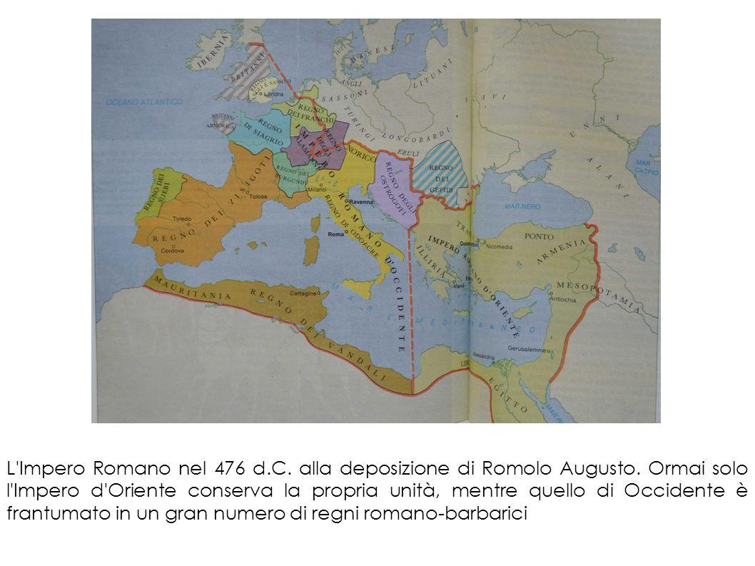 L'Impero Romano nel 476 d.C. alla deposizione di Romolo Augusto. Ormai solo l'Impero d'Oriente conserva la propria unità, mentre quello di Occidente è