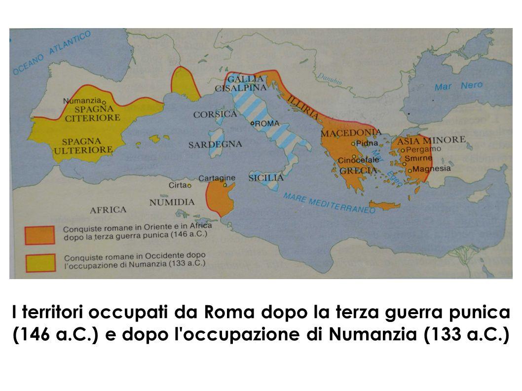 I territori occupati da Roma dopo la terza guerra punica (146 a.C.) e dopo l'occupazione di Numanzia (133 a.C.)