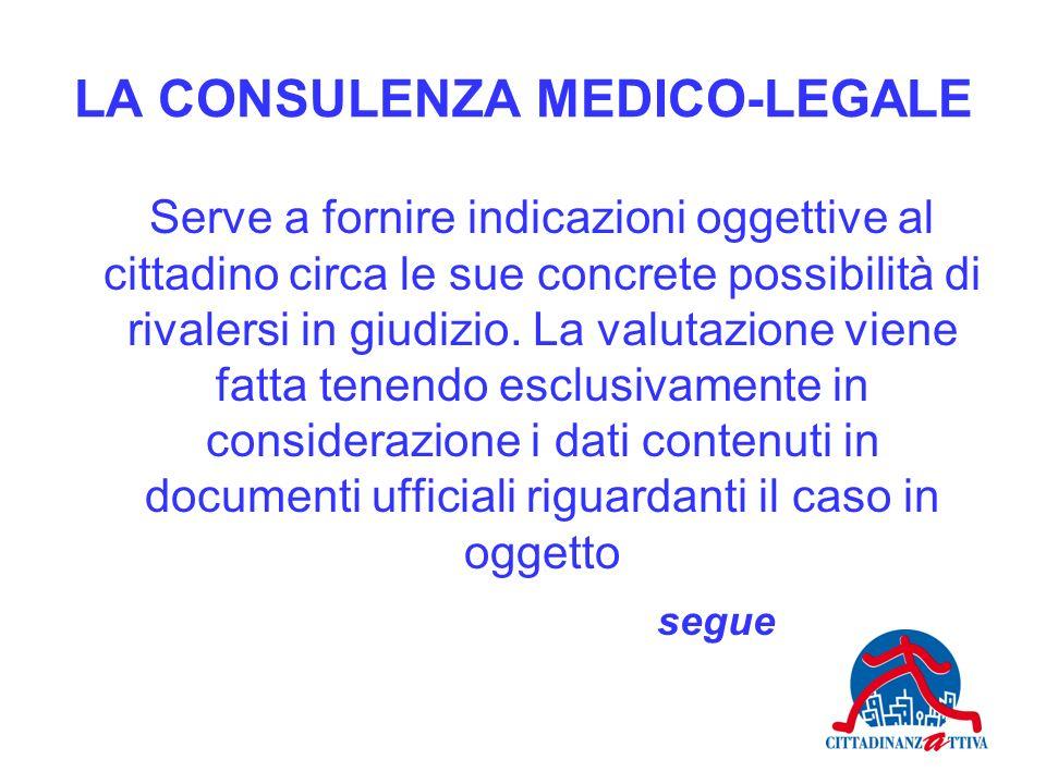 LA CONSULENZA MEDICO-LEGALE Serve a fornire indicazioni oggettive al cittadino circa le sue concrete possibilità di rivalersi in giudizio. La valutazi