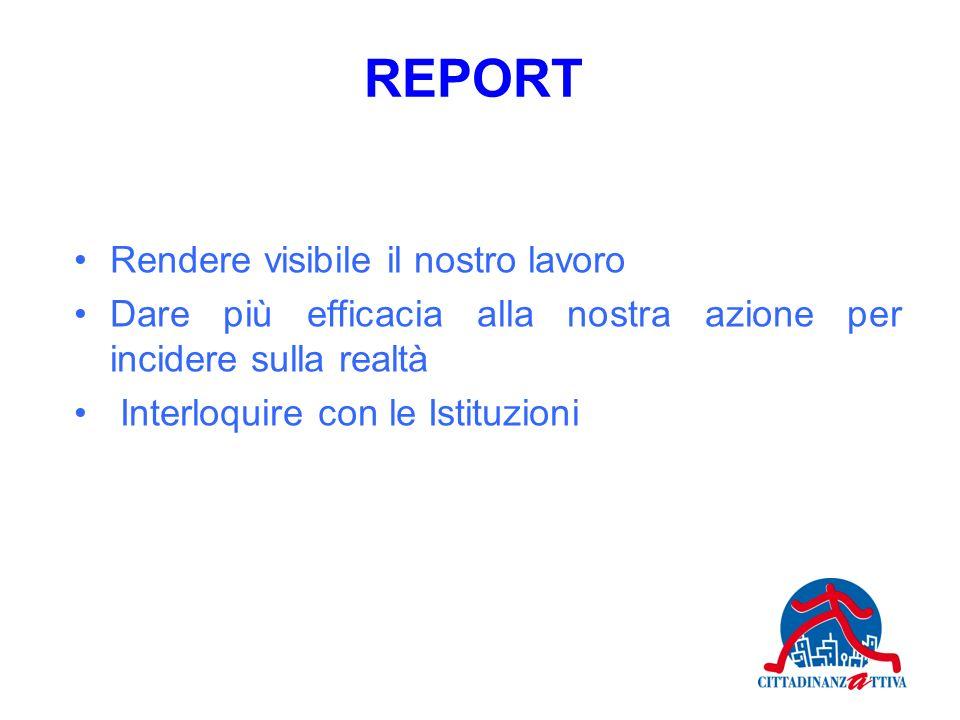 Rendere visibile il nostro lavoro Dare più efficacia alla nostra azione per incidere sulla realtà Interloquire con le Istituzioni REPORT