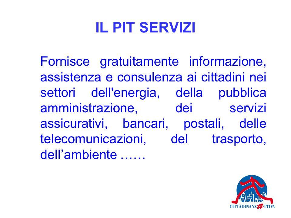 IL PIT SERVIZI Fornisce gratuitamente informazione, assistenza e consulenza ai cittadini nei settori dell'energia, della pubblica amministrazione, dei