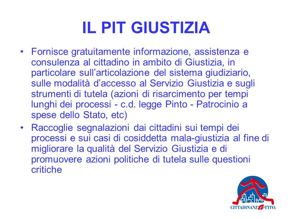 IL PIT GIUSTIZIA Fornisce gratuitamente informazione, assistenza e consulenza al cittadino in ambito di Giustizia, in particolare sullarticolazione de