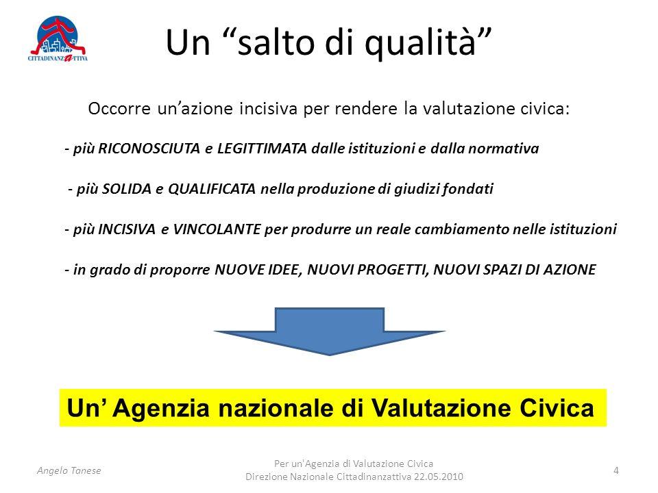 Un salto di qualità Occorre unazione incisiva per rendere la valutazione civica: - più RICONOSCIUTA e LEGITTIMATA dalle istituzioni e dalla normativa