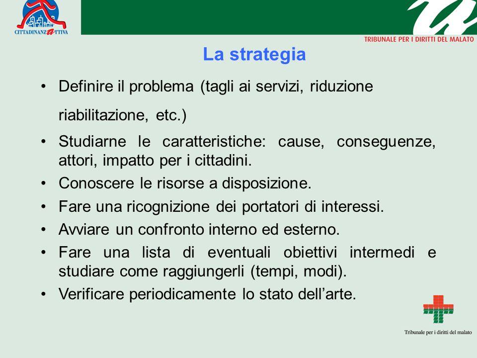 La strategia Definire il problema (tagli ai servizi, riduzione riabilitazione, etc.) Studiarne le caratteristiche: cause, conseguenze, attori, impatto per i cittadini.