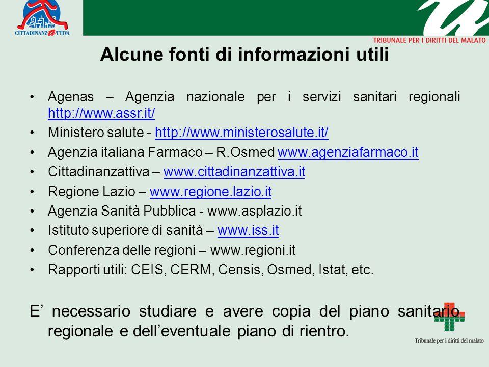 Alcune fonti di informazioni utili Agenas – Agenzia nazionale per i servizi sanitari regionali http://www.assr.it/ http://www.assr.it/ Ministero salute - http://www.ministerosalute.it/http://www.ministerosalute.it/ Agenzia italiana Farmaco – R.Osmed www.agenziafarmaco.itwww.agenziafarmaco.it Cittadinanzattiva – www.cittadinanzattiva.itwww.cittadinanzattiva.it Regione Lazio – www.regione.lazio.itwww.regione.lazio.it Agenzia Sanità Pubblica - www.asplazio.it Istituto superiore di sanità – www.iss.itwww.iss.it Conferenza delle regioni – www.regioni.it Rapporti utili: CEIS, CERM, Censis, Osmed, Istat, etc.