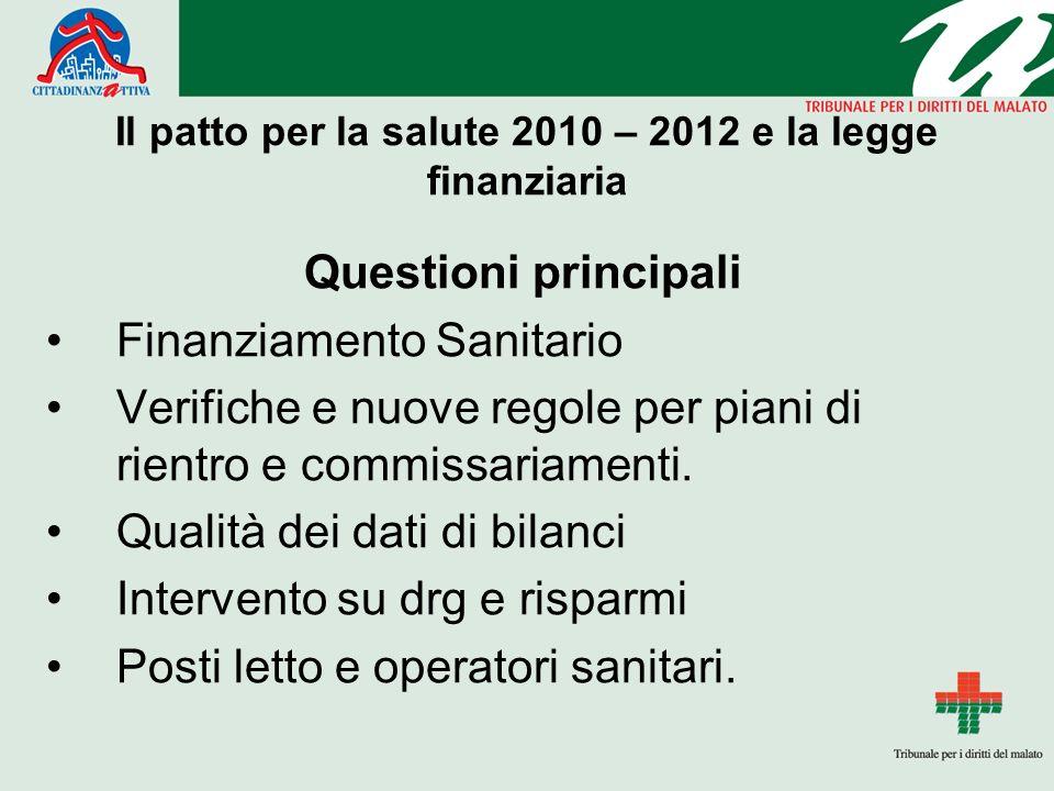 Il patto per la salute 2010 – 2012 e la legge finanziaria Questioni principali Finanziamento Sanitario Verifiche e nuove regole per piani di rientro e commissariamenti.