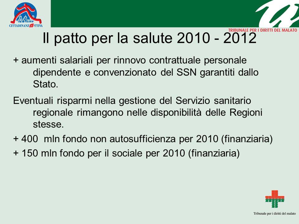 Il patto per la salute 2010 - 2012 + aumenti salariali per rinnovo contrattuale personale dipendente e convenzionato del SSN garantiti dallo Stato.