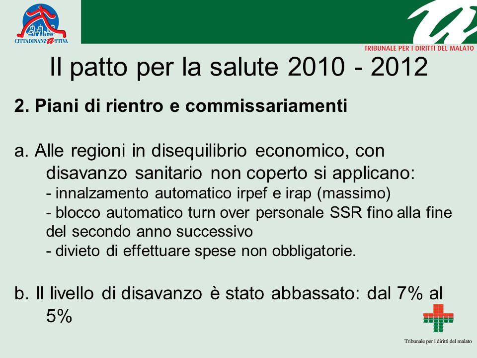 Il patto per la salute 2010 - 2012 2. Piani di rientro e commissariamenti a.