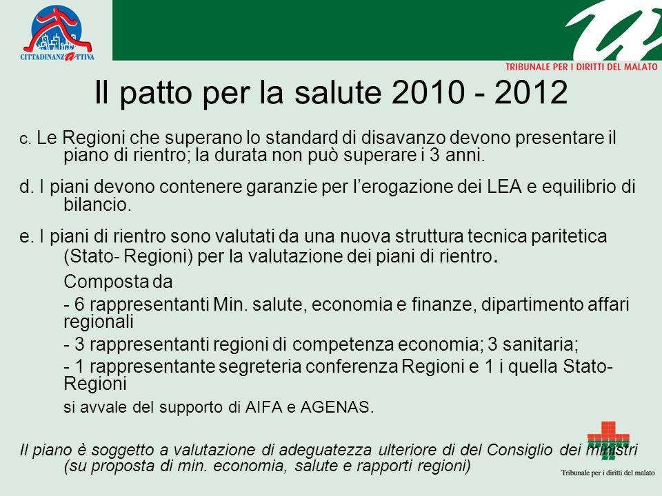 Il patto per la salute 2010 - 2012 c.