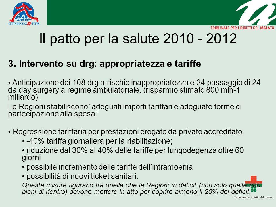 Il patto per la salute 2010 - 2012 3.
