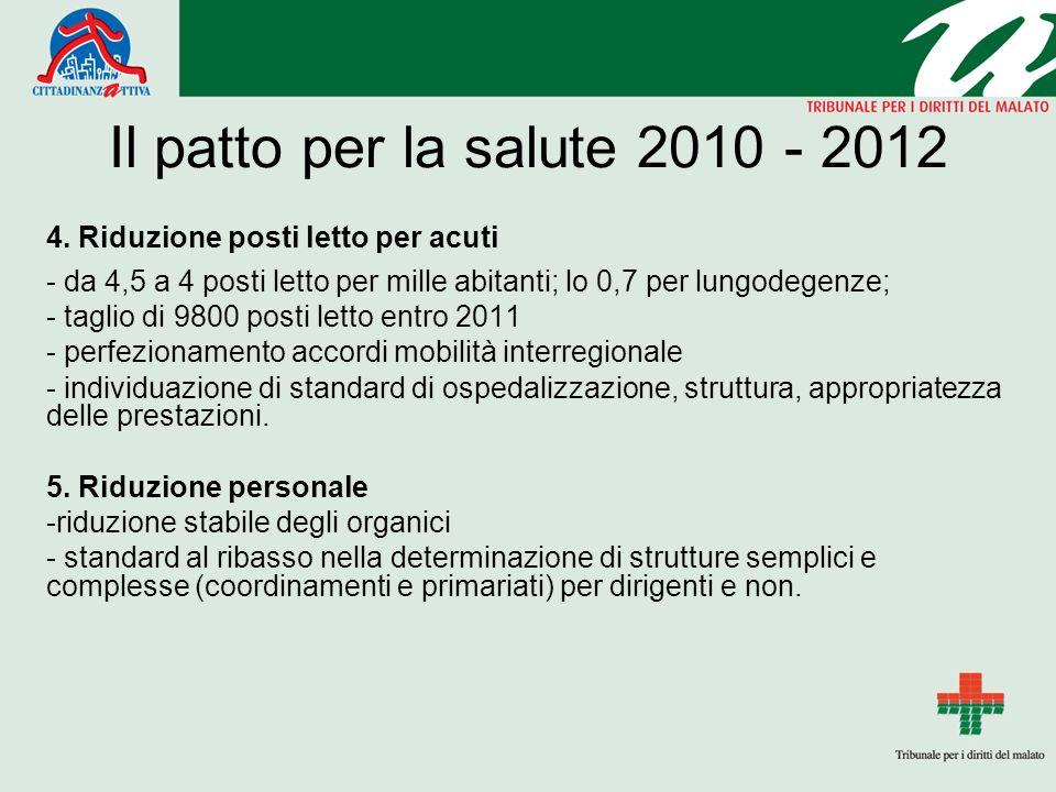 Il patto per la salute 2010 - 2012 4.