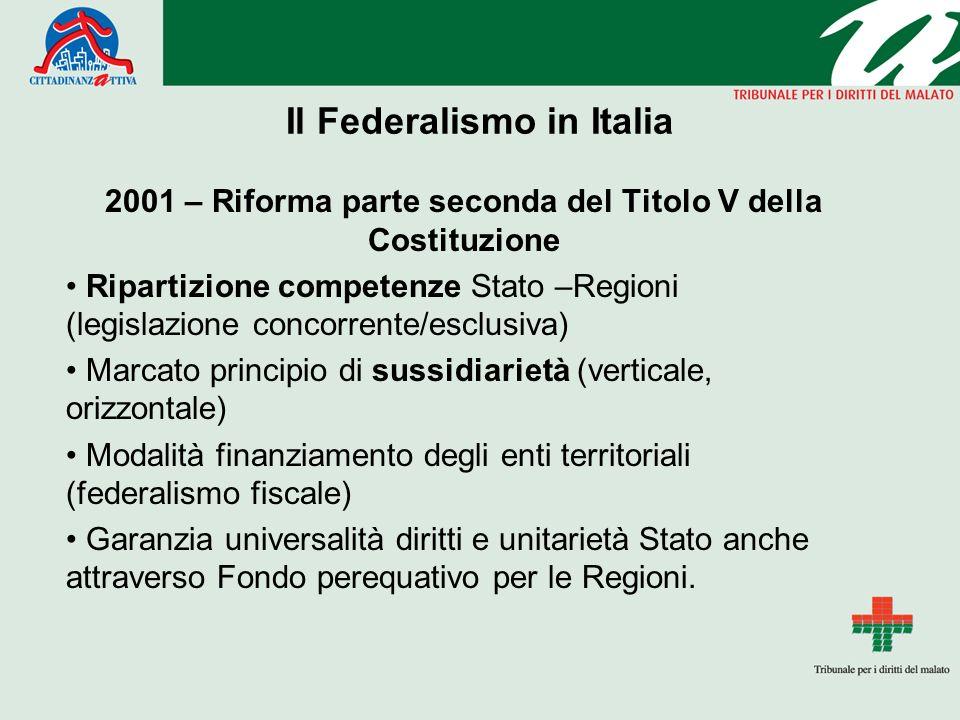 Il Federalismo in Italia 2001 – Riforma parte seconda del Titolo V della Costituzione Ripartizione competenze Stato –Regioni (legislazione concorrente/esclusiva) Marcato principio di sussidiarietà (verticale, orizzontale) Modalità finanziamento degli enti territoriali (federalismo fiscale) Garanzia universalità diritti e unitarietà Stato anche attraverso Fondo perequativo per le Regioni.