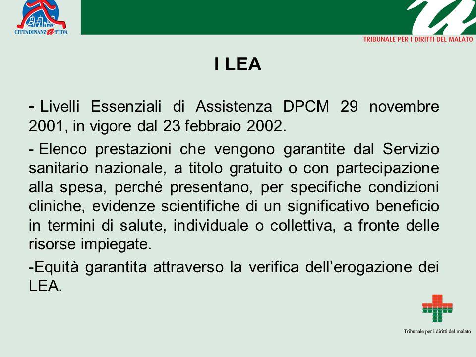 I LEA - Livelli Essenziali di Assistenza DPCM 29 novembre 2001, in vigore dal 23 febbraio 2002.