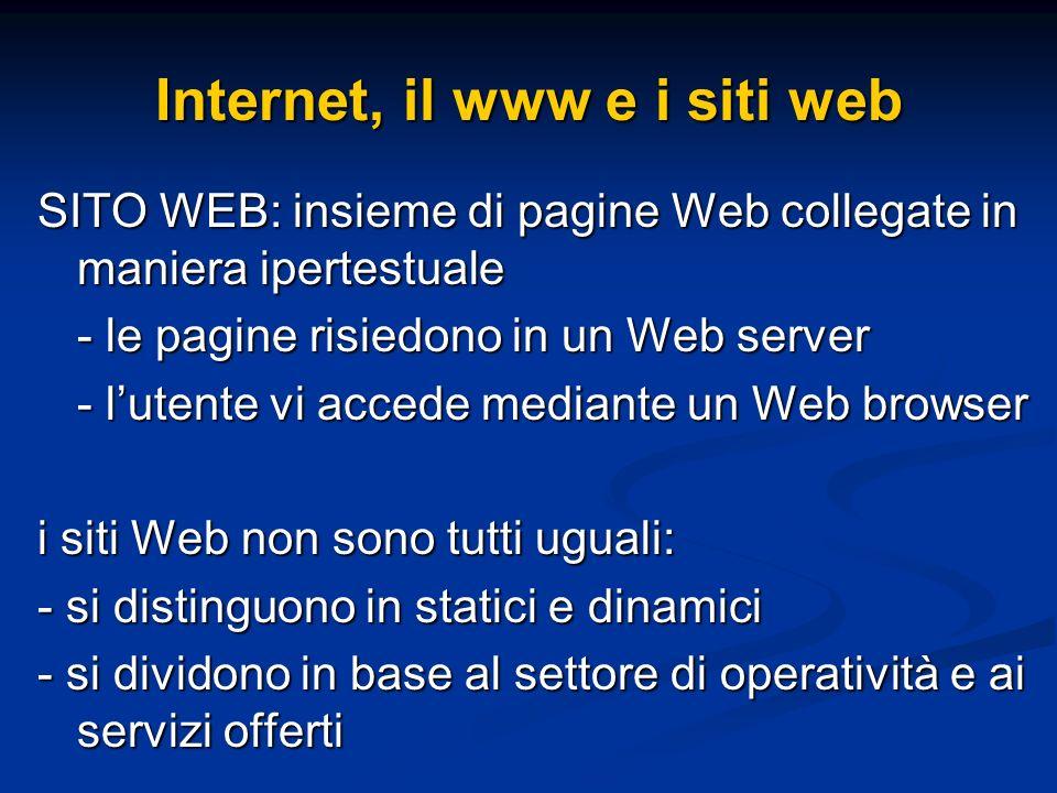 SITO WEB: insieme di pagine Web collegate in maniera ipertestuale - le pagine risiedono in un Web server - lutente vi accede mediante un Web browser i siti Web non sono tutti uguali: - si distinguono in statici e dinamici - si dividono in base al settore di operatività e ai servizi offerti Internet, il www e i siti web