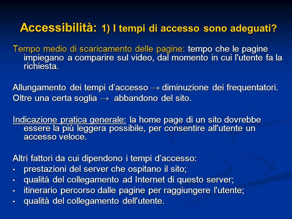 Accessibilità: 1) I tempi di accesso sono adeguati? Tempo medio di scaricamento delle pagine: tempo che le pagine impiegano a comparire sul video, dal