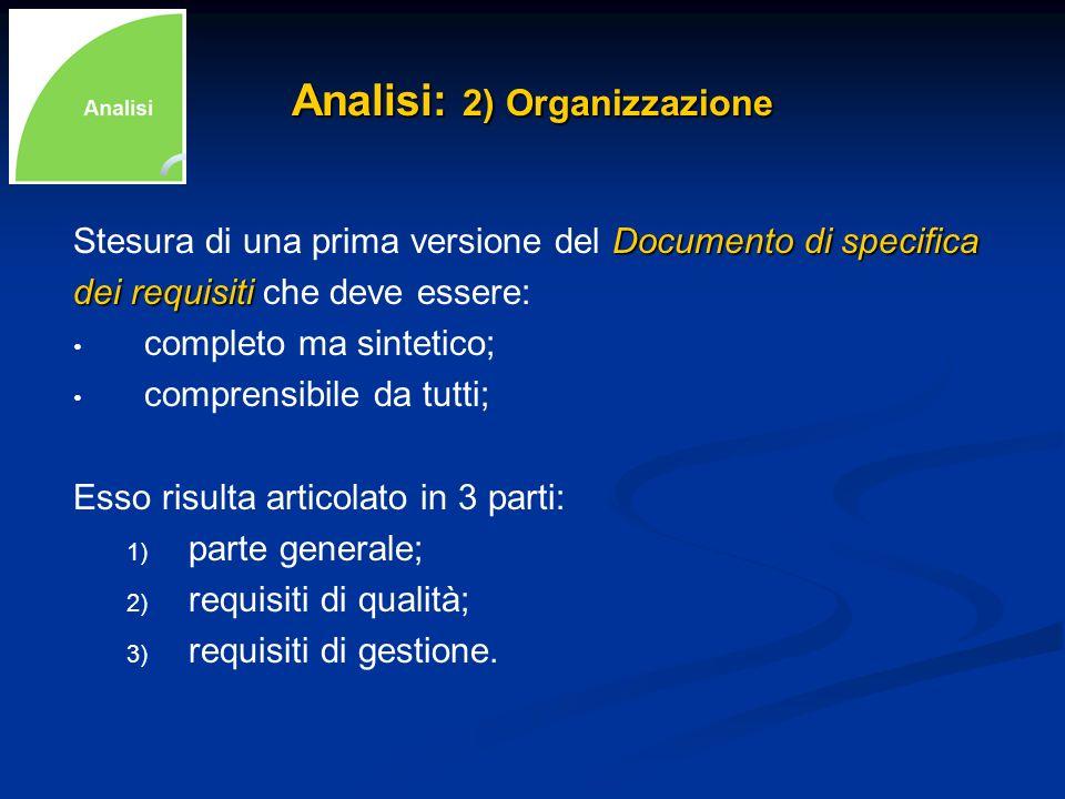 Analisi: 2) Organizzazione Documento di specifica Stesura di una prima versione del Documento di specifica dei requisiti dei requisiti che deve essere