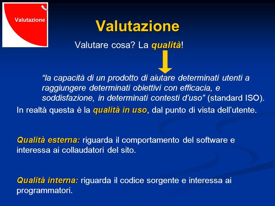 Valutazione qualità Valutare cosa? La qualità! la capacità di un prodotto di aiutare determinati utenti a raggiungere determinati obiettivi con effica
