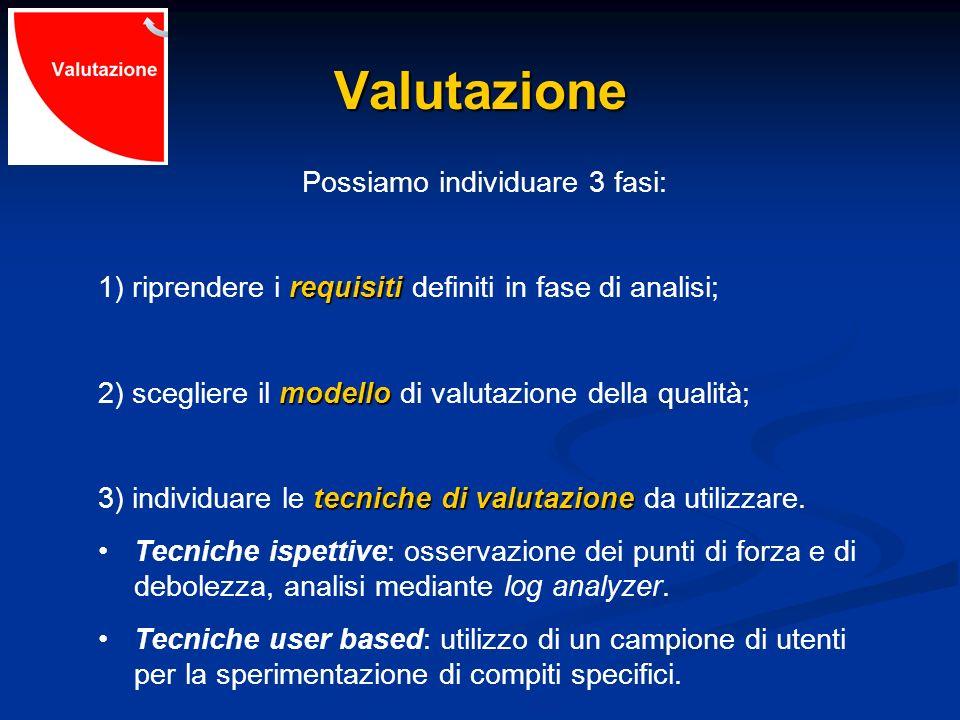 Valutazione Possiamo individuare 3 fasi: requisiti 1) riprendere i requisiti definiti in fase di analisi; modello 2) scegliere il modello di valutazio
